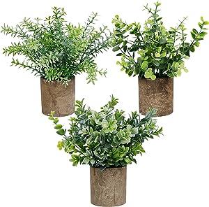 winemana Mini Potted Artificial Plants, Faux Plastic Eucalyptus Greenery in Pots, Green Plants Decor for Home Bathroom Office Farmhouse Desk Shelf Centerpiece Decoration, Set of 3 (Round)