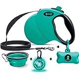Ruff 'N Ruffus 360° Tangle-Free 16 ft Retractable Dog Leash + Free Travel Bowl + Free Waste Bag Dispenser & 15 Bags + Free LE