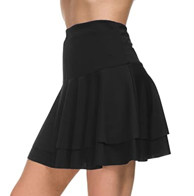 4ede641a66 Afibi Stretchy Flared Ruffle Layered Mini Skater Skirts for Women (X-Small,  Black