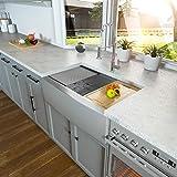 36 Farmhouse Sink - Kichae 36 Inch Farmhouse Kitchen Sink Ledge Workstation Apron Front Single Bowl 18 Gauge Stainless Steel Kitchen Farm Sink