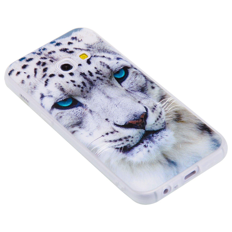 Leopardo Bianco COZY HUT Custodia Cover Samsung Galaxy A3 2017 Silicone Cover Bumper Case Antiscivolo AntiGraffio Antiurto Ultra Sottile TPU Morbida Protettiva Case per Samsung Galaxy A3 2017
