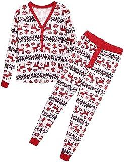 175d4818f Amazon.com  Family Christmas Pajamas Set Xmas Snowflake Deer for ...