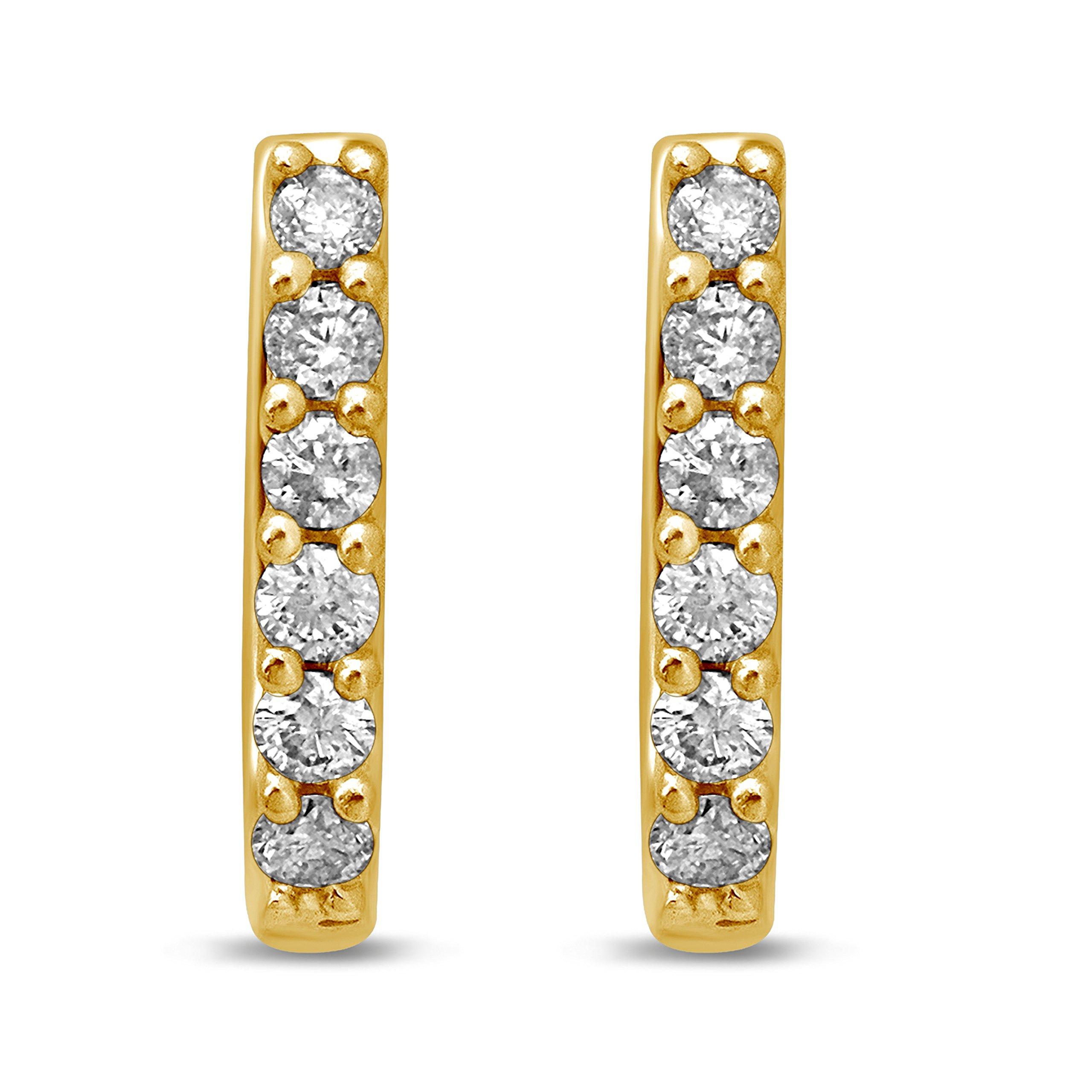 Diamond Jewel 14K Yellow Gold 1/4 cttw Diamond Huggy Hoop Earrings