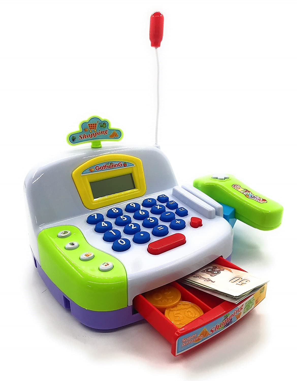 Amazon.com: Toy Cash Register Cashier Playset Battery Operated, Kids Pretend Play Set,Colorful Childrens Cash Register w/Microphone, Scanner, Calculator, ...