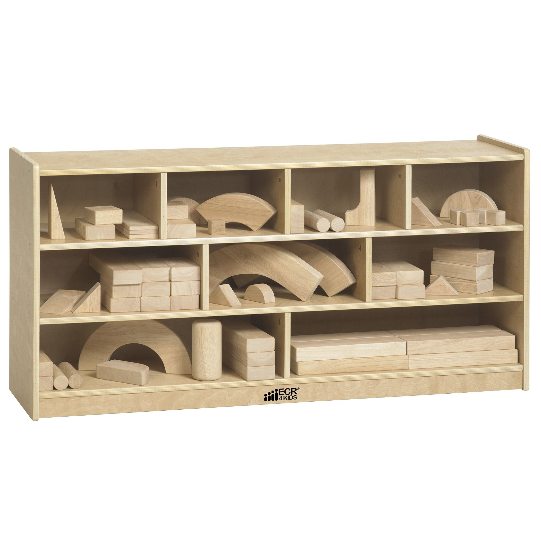 ECR4Kids Birch 9-Cubby School Classroom Block Storage Cabinet with Casters, Natural, 48'' W