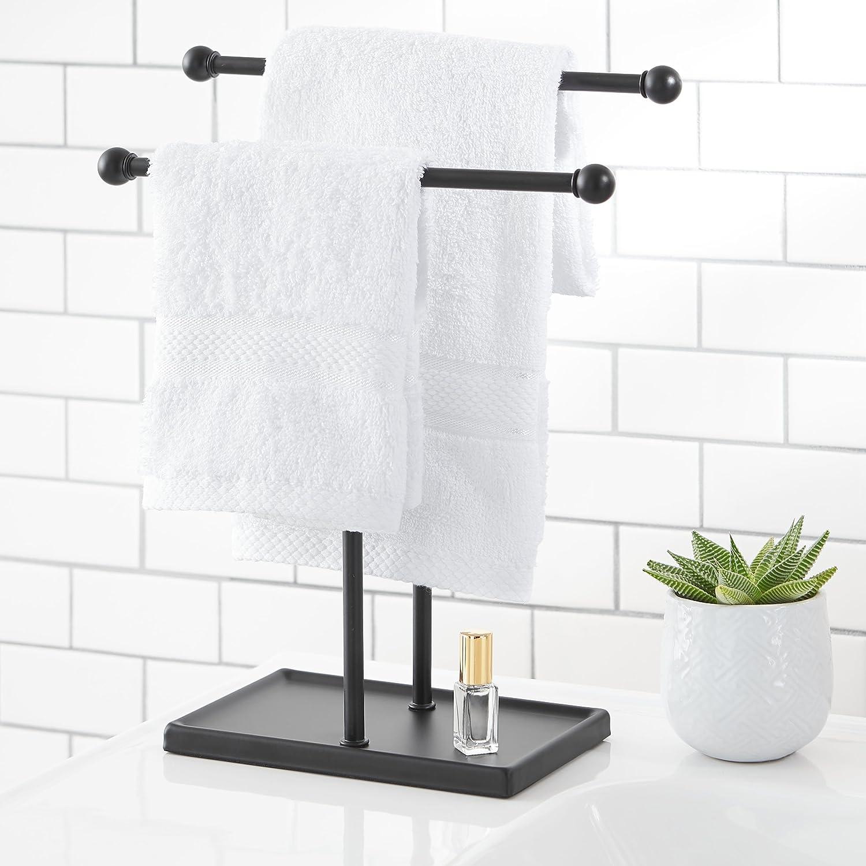 Wei/ß Bronzefarben Schmuckhalter in doppelter L-Form Basics Handtuch und Zubeh/ör-
