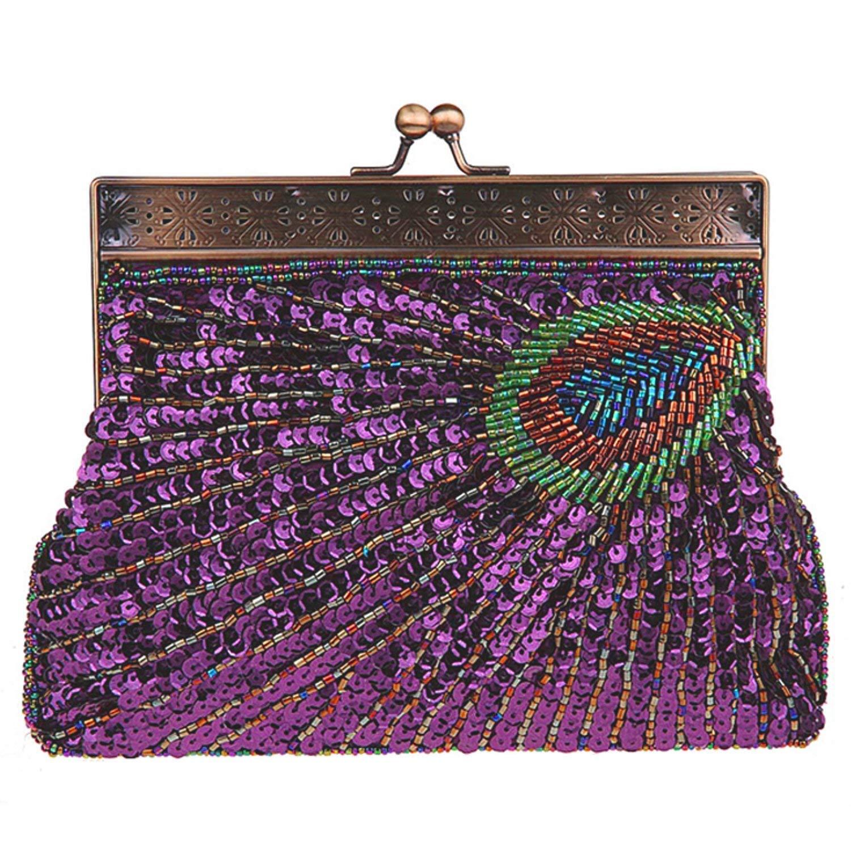 Lentejuelas de la Mujer Cuentas Bolsa de Diamantes de imitación Pavo Real Bordado Embrague Bolso de Noche-A 22x4x14cm(9x2x6inch): Amazon.es: Equipaje