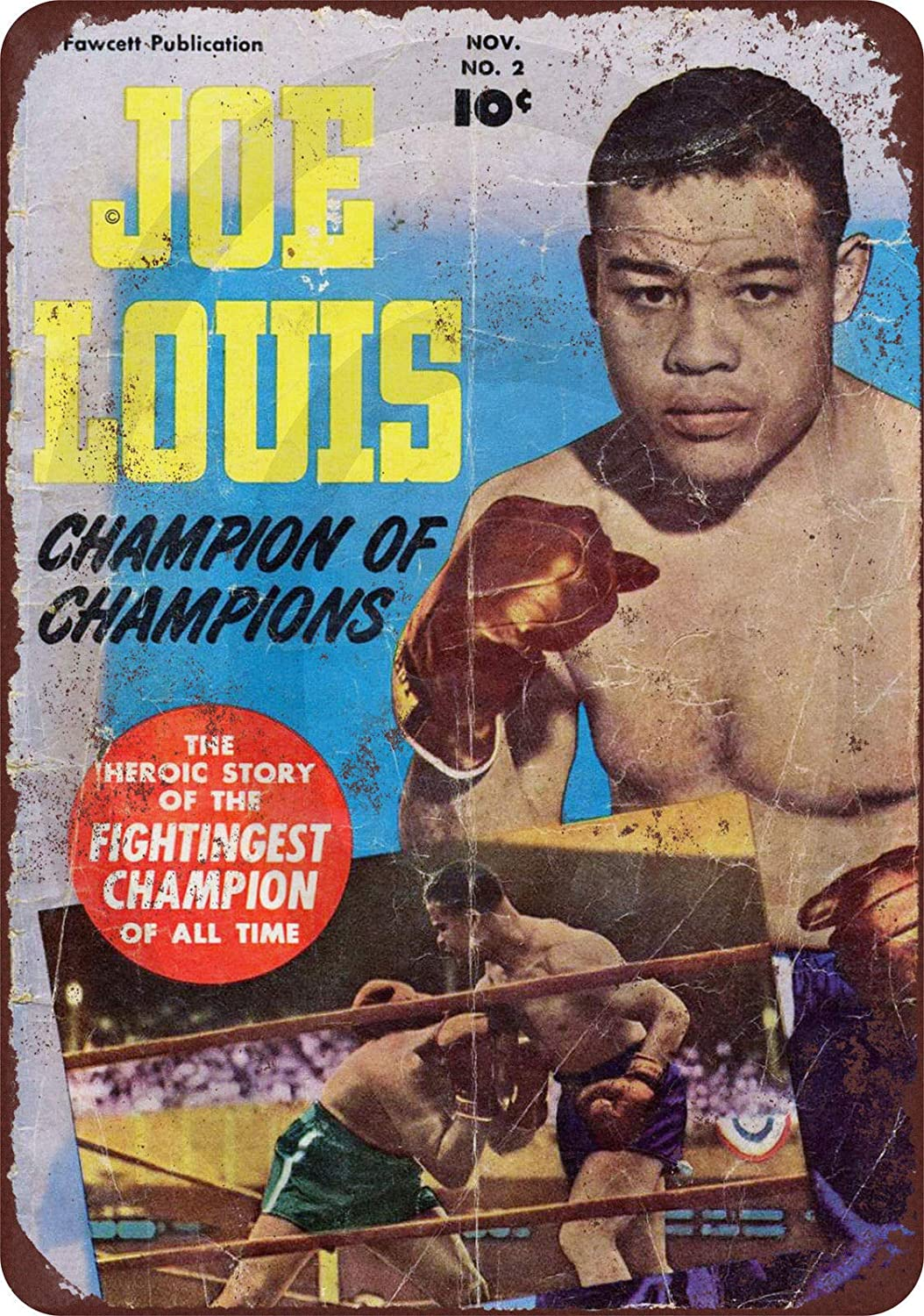 HomDeo for Yard Farm Gym Barber Shop Garage Wine Cellar Cafe Metal Signs Vintage Tin Sign 8 x 12 Inches 1950 Joe Louis Boxing Comic Champ Indoor Wall Decor