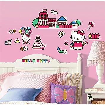 ROOMMATES RMKSCS Hello Kitty The World Of Hello Kitty Peel And - Hello kitty wall stickers