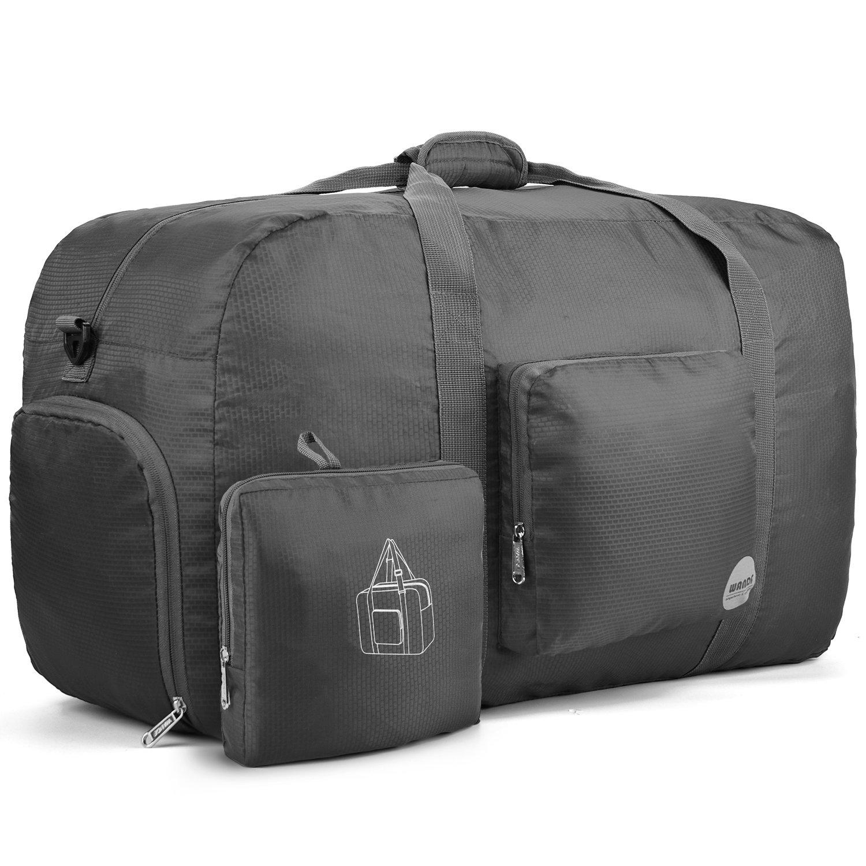 WANDF 85L Foldable Travel Duffel Bag Luggage Sports Gym Water Resistant Nylon (Black)