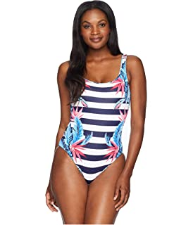 b279a44981 Tommy Bahama Womens Palms Paradise Reversible Lace Back One-Piece Swimsuit  Mare Navy Size 6
