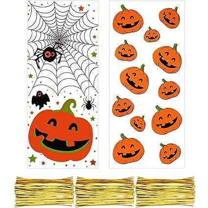 200 Piezas de Bolsas de Dulces de Celofán Bolsa Transparente de Halloween Navidad con 300 Piezas de Precintos para Fiesta Temática (Estilo 4)