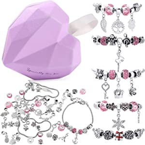 56 Pcs DIY Charm Bracelet Making Kit Handmade Carved Silver Plated Snake Chain Jewelry Making Supplies Bead Bracelets Gift for Teens Girls Kids Women (Pink & Sliver)