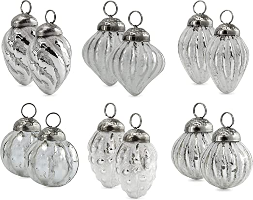 Set of 6 Mercury Glass Baubles distressed vintage hanging decorations