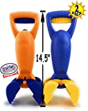"Matty's Toy Stop 14.5"" Plastic Sand Grabber Claw Scoops for Sand & Beach (Blue/Yellow & Orange/Blue) Gift Set Bundle - 2…"