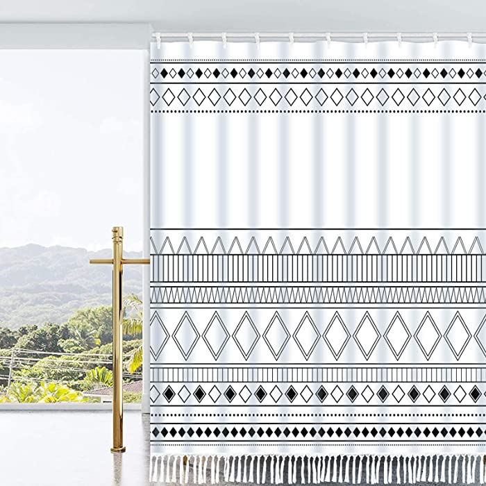 Ikfashoni Boho Tassel Shower Curtain Black and White Shower Curtain with 12 Hooks, Geometric Aztec Bathroom Shower Curtains, Fabric Tribal Shower Curtain for Bathroom, 69