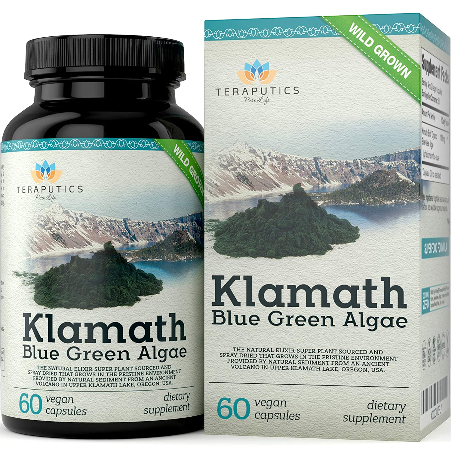 Premium Klamath Blue Green Algae – More Powerful Than Spirulina and Chlorella Supplements Pure Chlorophyll Rich SuperFood, Sourced from Organic Klamath Lake, 500mg, 60 Vegan Capsules