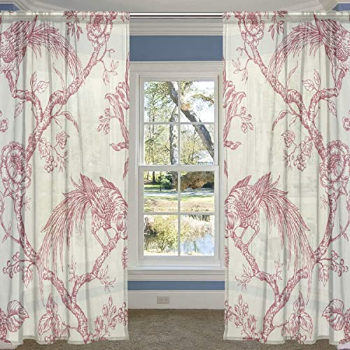LORVIES Birds Pattern Sheer Curtain Panels Tulle Polyester Voile Window Treatment Panel Curtains