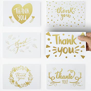amazon com 36 unique thank you cards with gold color text 6