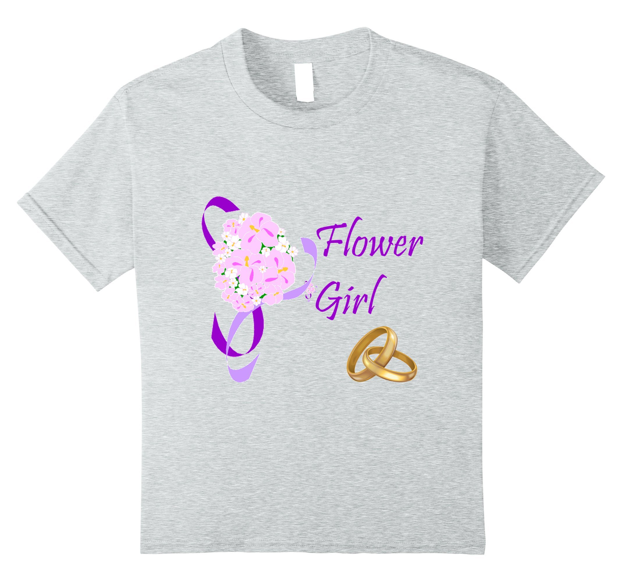 Kids Wedding Flower Girl Youth T-shirt 10 Heather Grey