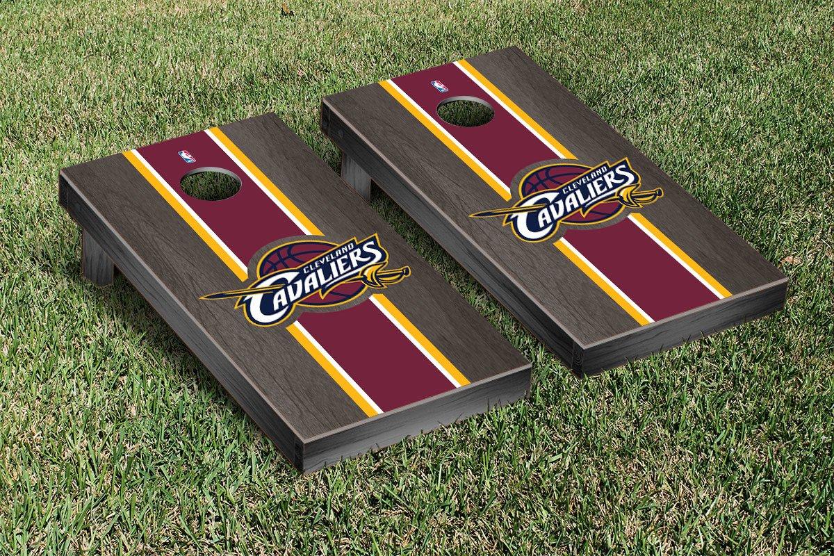 Cleveland Cavaliers NBA Basketball Cornhole Game Set Onyx Stained Stripe Version