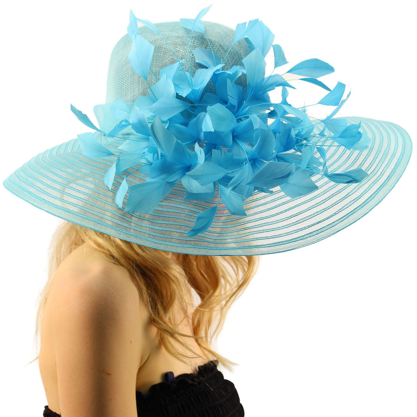 SK Hat shop Spectacular Spray Feathers Sinamay Derby Floppy Wide Brim 7'' Dress Hat Turquoise by SK Hat shop