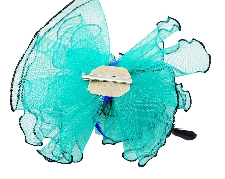 Bellady Women Organza Church Derby Hat Ruffles Wide Brim Summer Bridal Cap,Blue Derby Day Hats,One Size by Bellady (Image #6)
