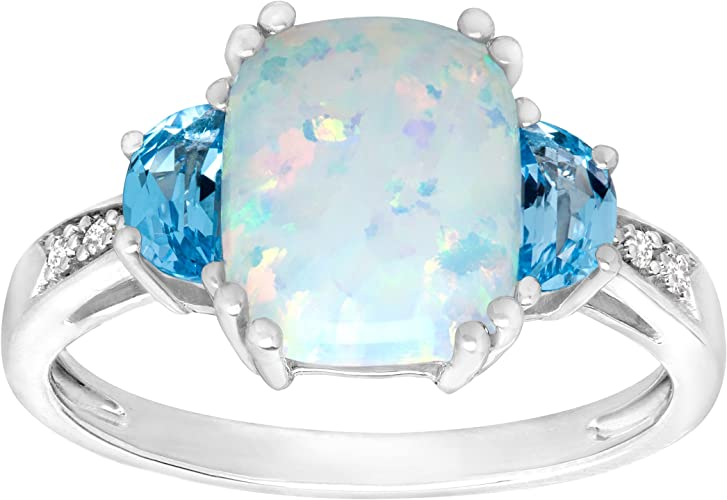 1//2 ct Natural Opal Halo Ring with Diamonds in Sterling Silver /& 14K Gold
