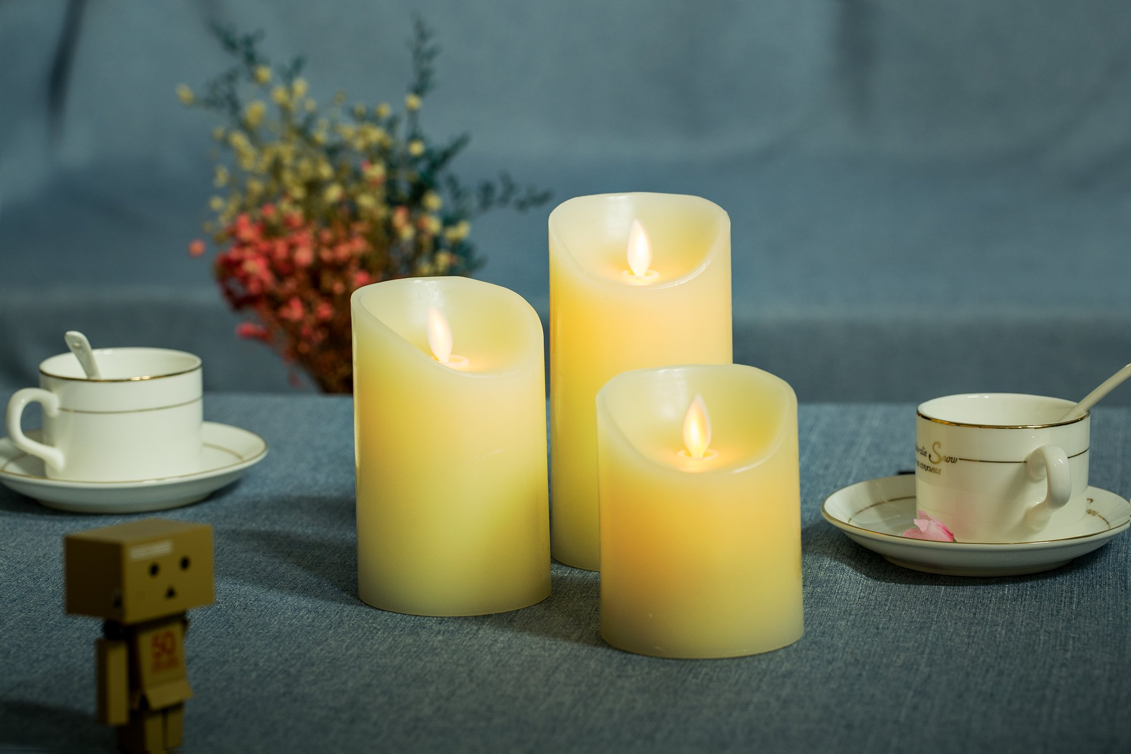 Flameless Candles, TEECOO Flickering LED Candles Φ3.15'' x H 4'' 5'' 6'' Set Of 3 Real Wax Pillar Not Plastic With 10-key Remote Control Timer 300+ Hours (3, Ivory) by TEECOO (Image #6)
