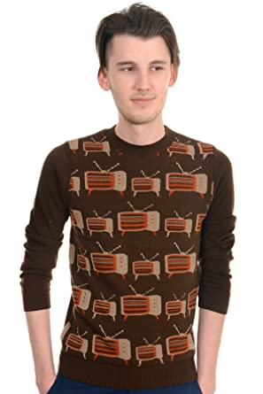 Mens Indie Hipster Vintage 60s 70s Retro TV Jumper XS