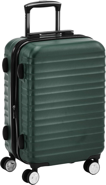 AmazonBasics - Maleta rígida giratoria prémium de 55 cm, verde