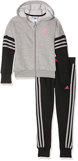 Adidas Survêtement à Capuche pour Fille 110 Medium Grey Heather Black Shock  Pink ce2bf489084b