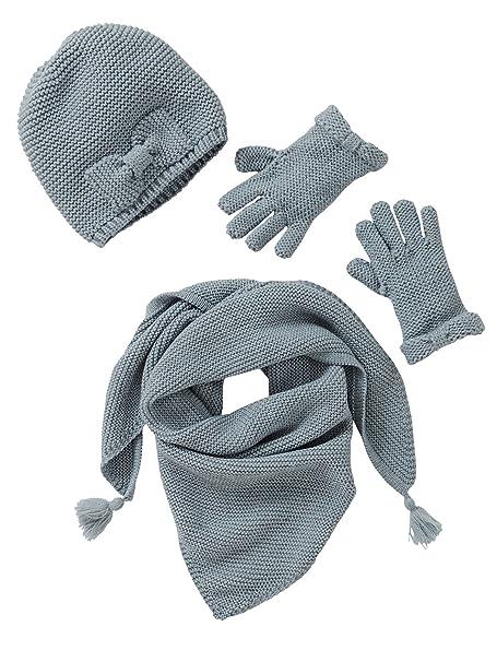 Vertbaudet Schal M/ütze und Handschuhe f/ür M/ädchen GRAU 86//92