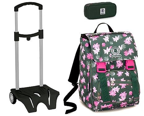 be5ed24e4a Zaino Scuola Invicta + Easy Trolley + Portapenne - Verde Rosa Fiori -  Estensibile, elementari