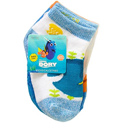 Finding Dory Toddler Boy or Girl Unisex Quarter Socks, 3-Pack