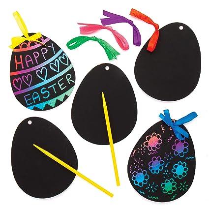 Kratzbild Anhänger Osterei Scratch Art Für Kinder Zum Basteln Zu Ostern 12 Stück