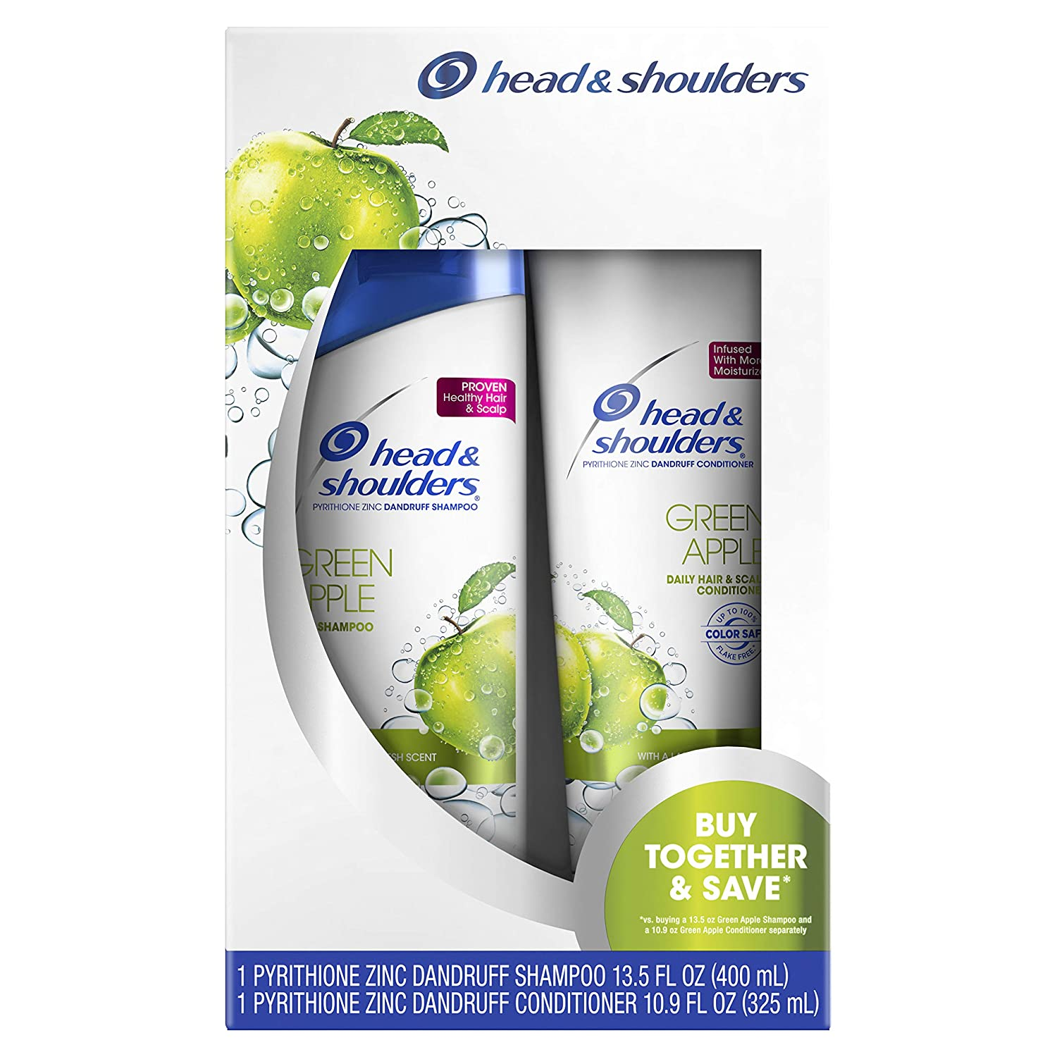 Head & Shoulders Green Apple Daily-use Anti-dandruff Shampoo and Conditioner Twin Pack, 24.4 Fluid Ounce