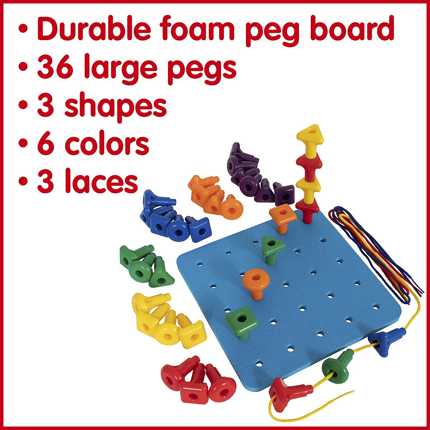 Homeschool Supplies for Preschool Activities 36 Pegs in 3 Shapes Ages 18m and up edxeducation Geo Pegs and Peg Board Set 6 Colors and 3 Laces