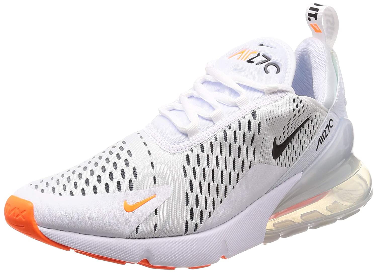 4e99bd2ed66 Amazon.com  Nike Mens Air Max 270 Running Shoes White Black Total Orange  AH8050-106 Size 8.5  Sports   Outdoors