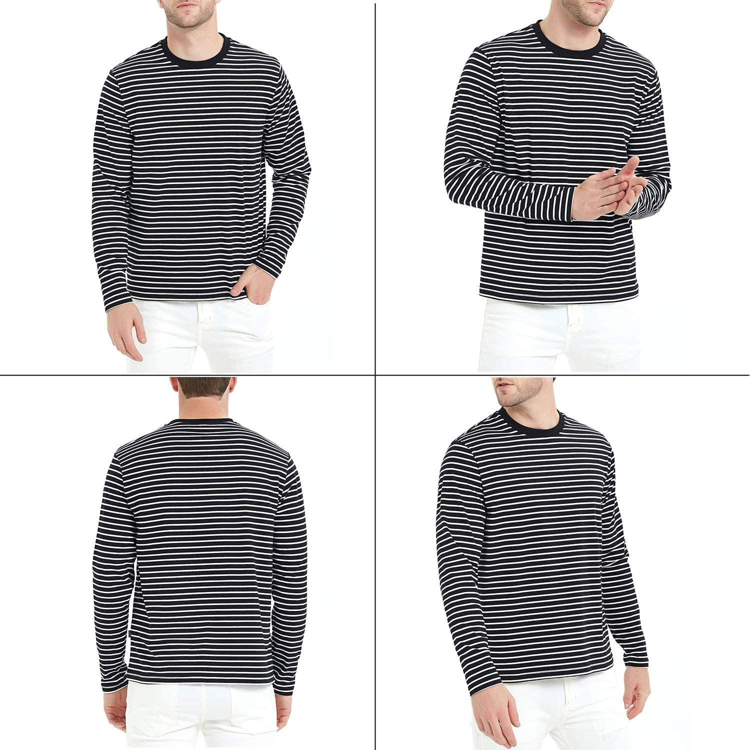 Mens T-Shirt Casual Cotton Spandex Striped Crewneck Long-Sleeve T-Shirts Basic Pullover Stripe Man tee Shirt