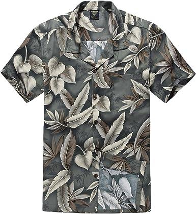 Hombres Aloha Camisa Hawaiana en Hoja Verde y Pluma: Amazon.es: Ropa y accesorios