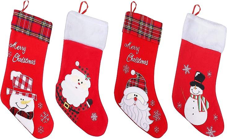 Chaussette De Noel A Suspendre Chaussette de Noel (Lot de 4)   Botte Noel a Suspendre 45 cm Rouge