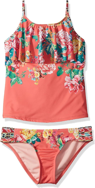 Hobie Girls Big Tankini Top /& Sash Side Hipster Bottom Swimsuit Set