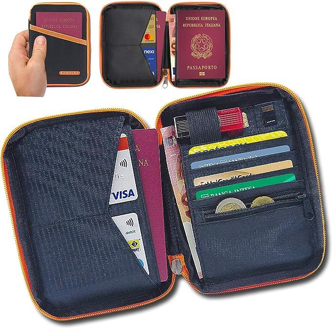 34 opinioni per Porta Passaporto Da Viaggio RFID Compatto Custodia Carte Credito Portafoglio 2a