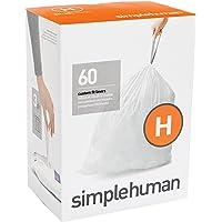 simplehuman Code H Custom Fit Liners, Drawstring Trash Bags, 30-35 Liter / 8-9 Gallon, 3 Refill Packs (60 Count)