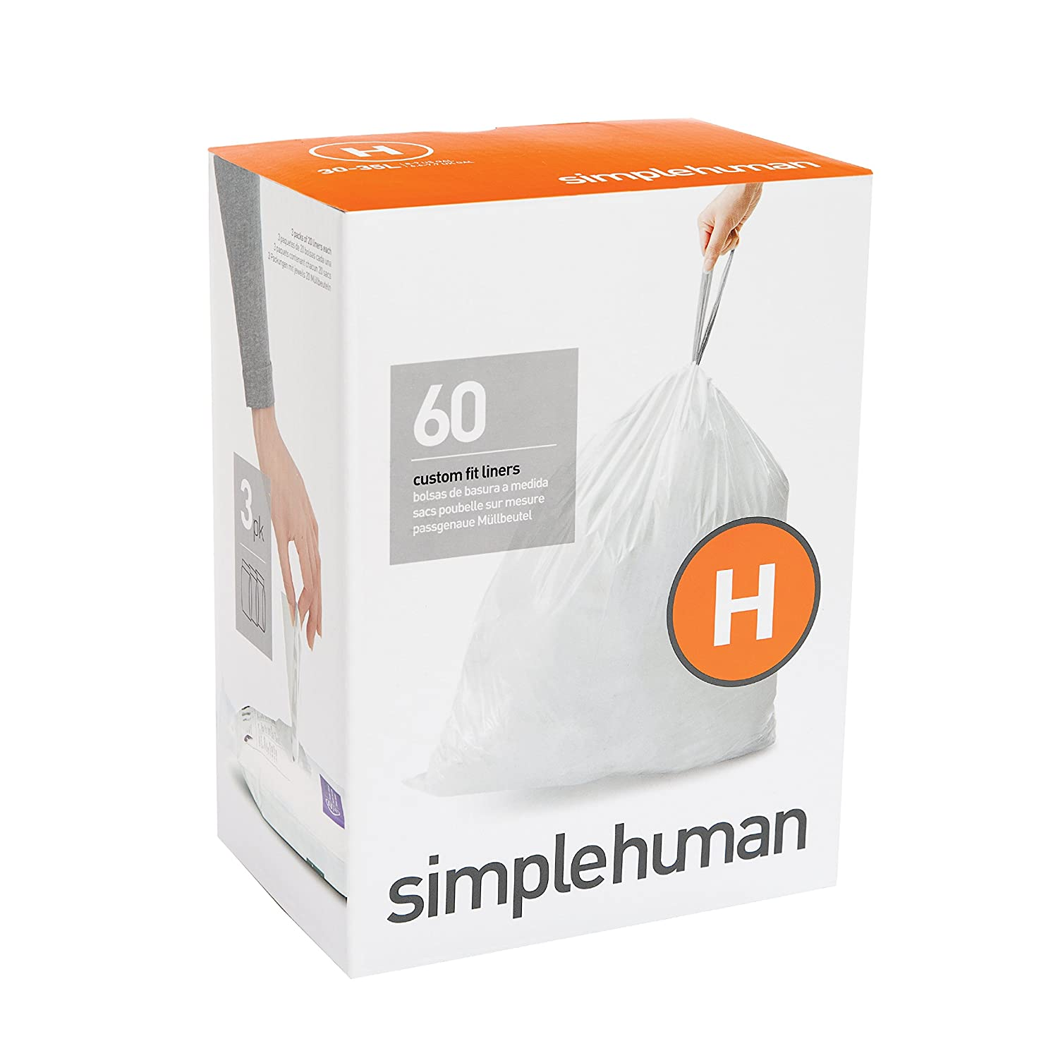 Amazon.com: Simplehuman Code H Custom Fit Liners, Drawstring Trash Bags,  30 35 Liter / 8 9 Gallon, 3 Refill Packs (60 Count): Home U0026 Kitchen