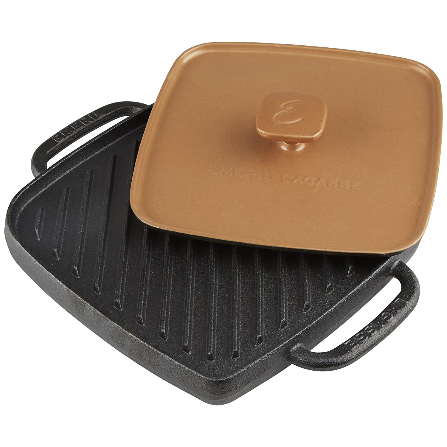 Emeril Lagasse 63141 Pre-Seasoned Cast Iron Single Burner Reversible Grill Griddle with Large Grill Press, Black, Copper