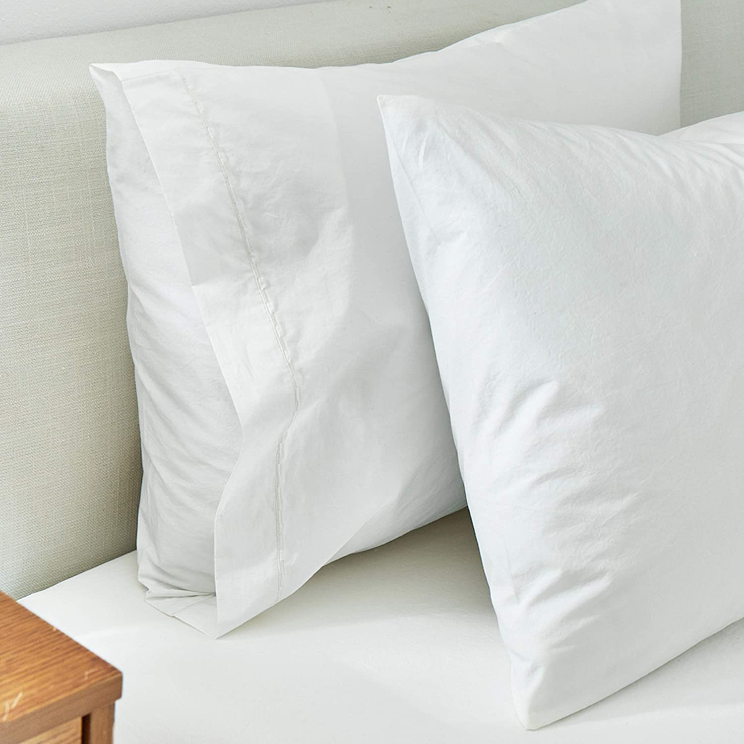 Splendid Home Washed Percale Sheet Pillowcases, Standard, White