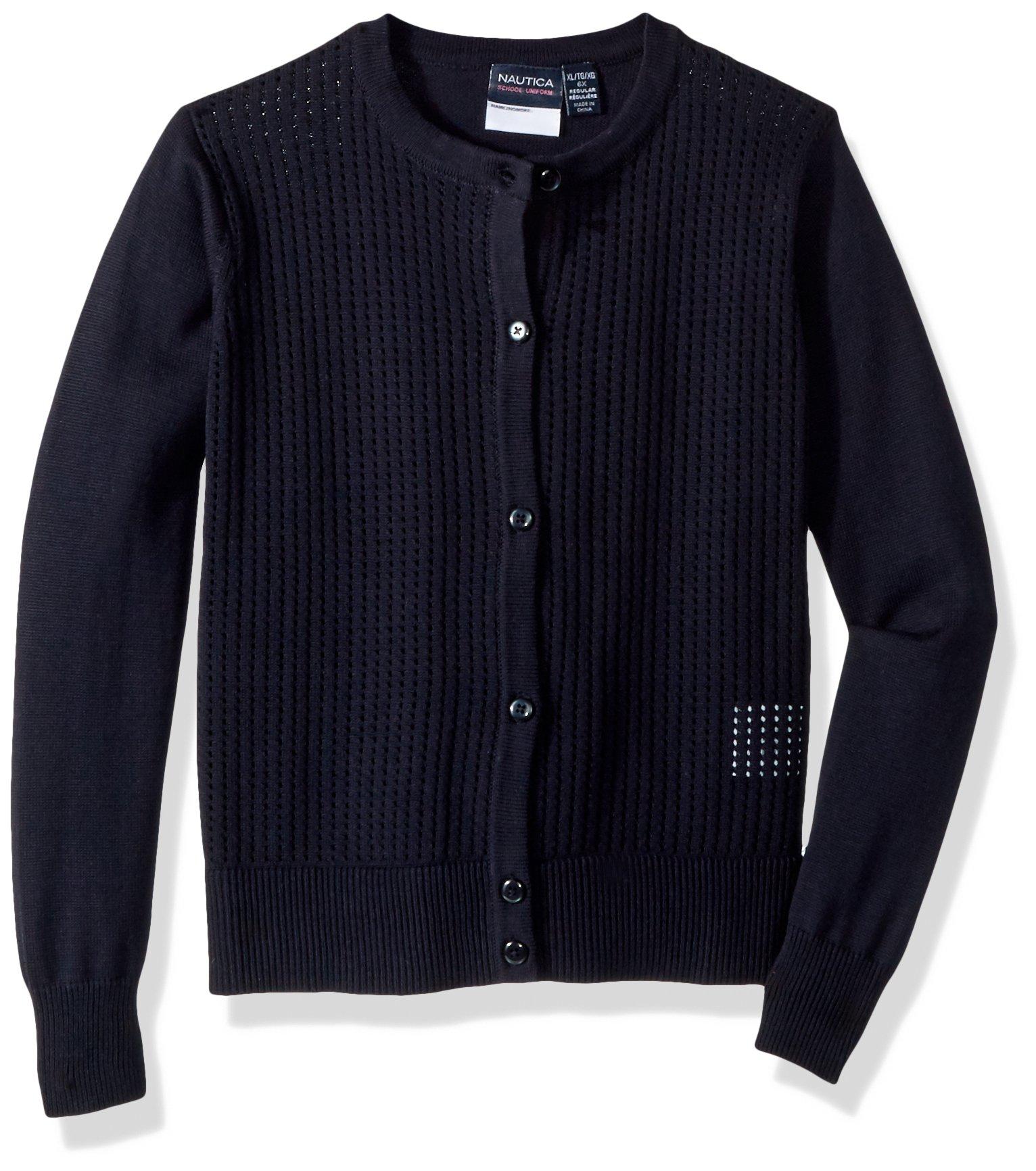 Nautica Big Girls' Cardigan Sweater, Navy/Pointelle Cardigan, M (8/10)