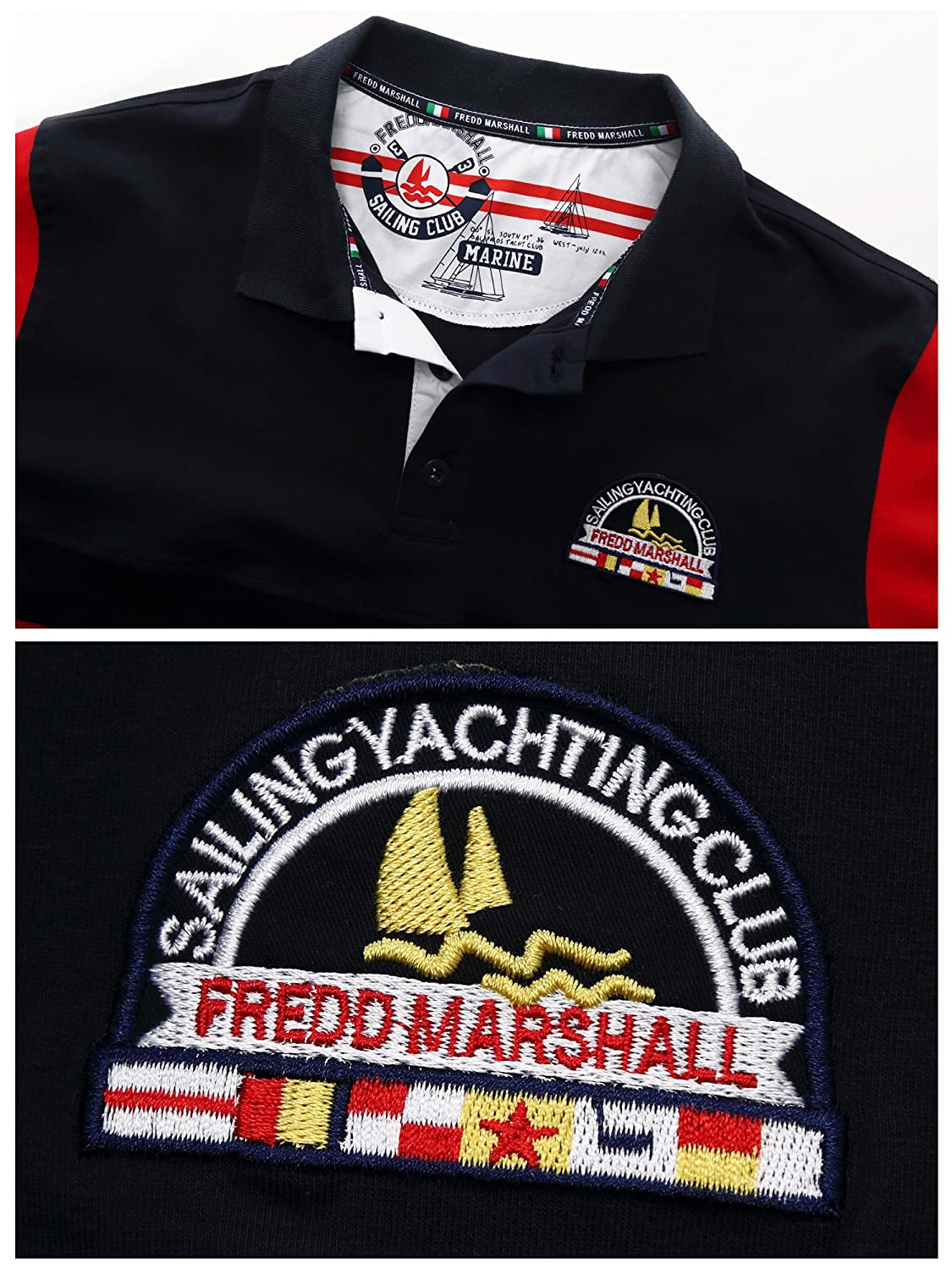 254e5383a Fredd Marshall Men s Short Sleeve Cotton Striped Embroidered Classic Polo  Shirts Golf Tops  Amazon.co.uk  Clothing